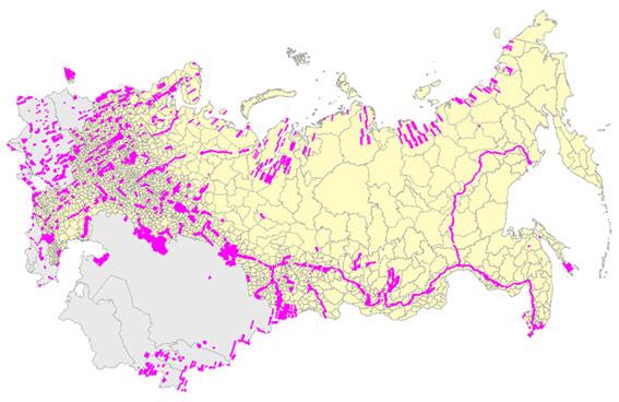 Схема покрытия территории СНГ