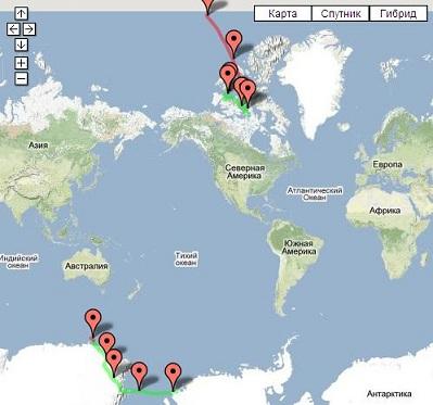 Доступна карта перемещений магнитных полюсов Земли.