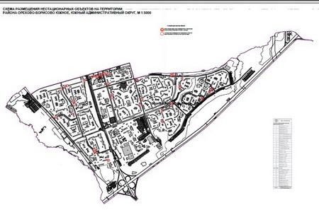 Схема размещения торговых объектов в одном из районов Москвы.